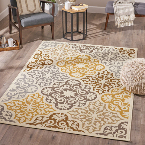 Indoor Floral  Area Rug, Ivory and Gray - NH936503