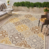Outdoor Modern Oriental Quatrefoil Ivory and Gray Rectangular Area Rug - NH129403