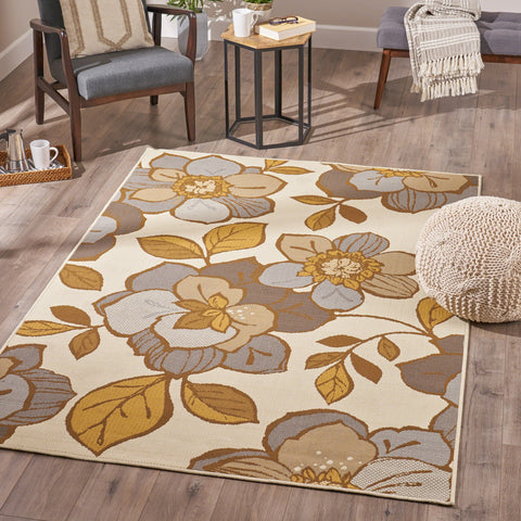 Indoor Floral  Area Rug, Ivory and Gray - NH236503