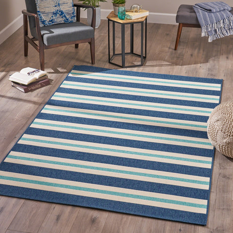 Indoor Geometric  Area Rug, Blue and Ivory - NH546503