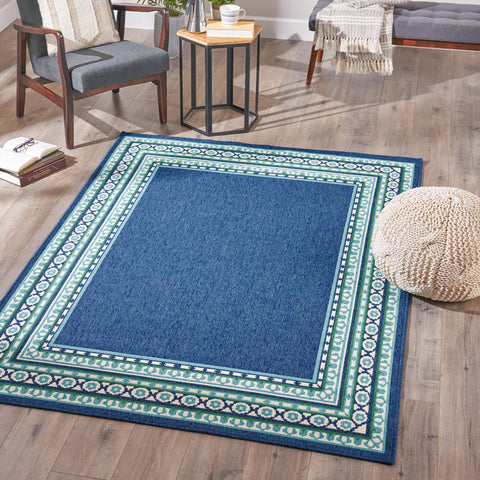 Indoor Border  Area Rug, Navy and Green - NH036503