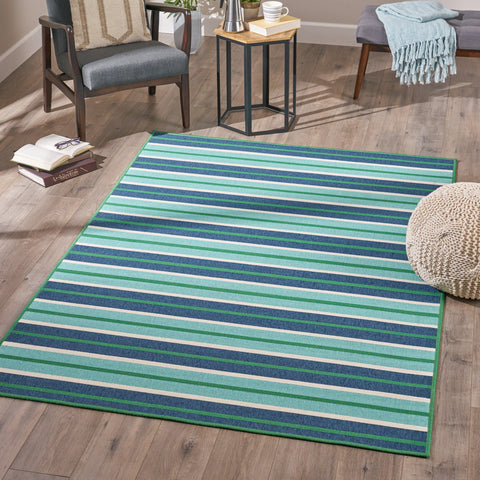 Indoor Geometric  Area Rug, Blue and Green - NH346503
