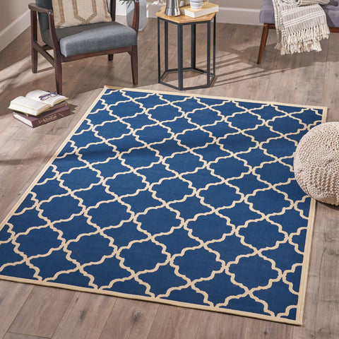 Indoor Geometric Area Rug, Navy and Ivory - NH026503