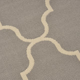 Outdoor Quatrefoil Gray and Ivory Rectangular Area Rug - NH919403