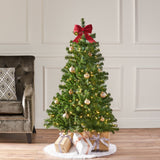 4.5-foot Noble Fir Pre-Lit Clear LED Hinged Artificial Christmas Tree - NH211413