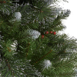 7-foot Mixed Spruce Hinged Artificial Christmas Tree with Glitter Branches, Red Berries, and Pinecones - NH873703