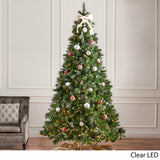 9-foot Mixed Spruce Pre-Lit Clear LED Hinged Artificial Christmas Tree with Glitter Branches - NH641113