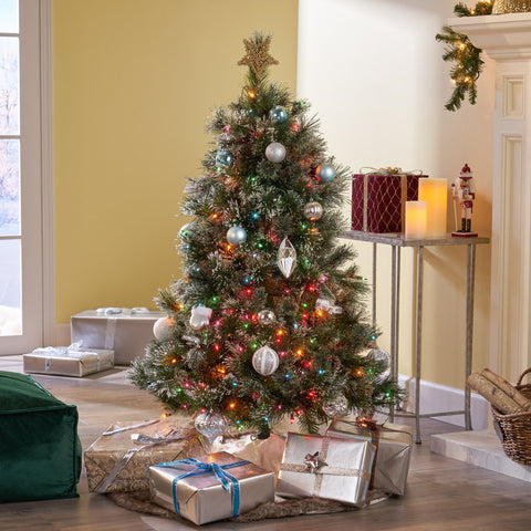 4.5-foot Cashmere Pine and Mixed Needles Hinged Artificial Christmas Tree with Snowy Branches and Pinecones - NH313703