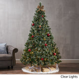 7-foot Cashmere Pine Pre-Lit Artificial Christmas Tree with Snowy Branches and Pinecones - NH741113