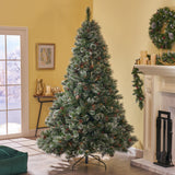 7-foot Cashmere Pine and Mixed Needles Hinged Artificial Christmas Tree with Snowy Branches and Pinecones - NH283703