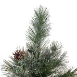 7.5-foot Cashmere Pine and Mixed Needles Hinged Artificial Christmas Tree with Snowy Branches and Pinecones - NH483703