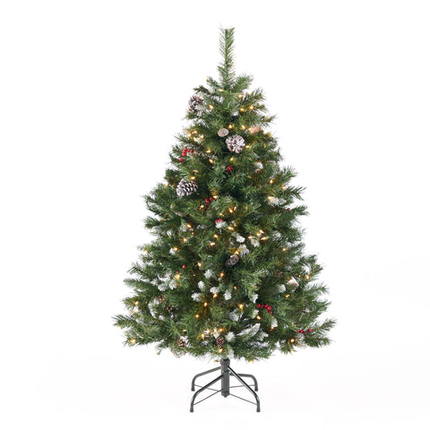4.5-foot Mixed Spruce Hinged Artificial Christmas Tree with Frosted Branches, Red Berries, and Frosted Pinecones - NH663703
