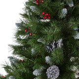 7-foot Mixed Spruce Hinged Artificial Christmas Tree with Frosted Branches, Red Berries, and Frosted Pinecones - NH753703