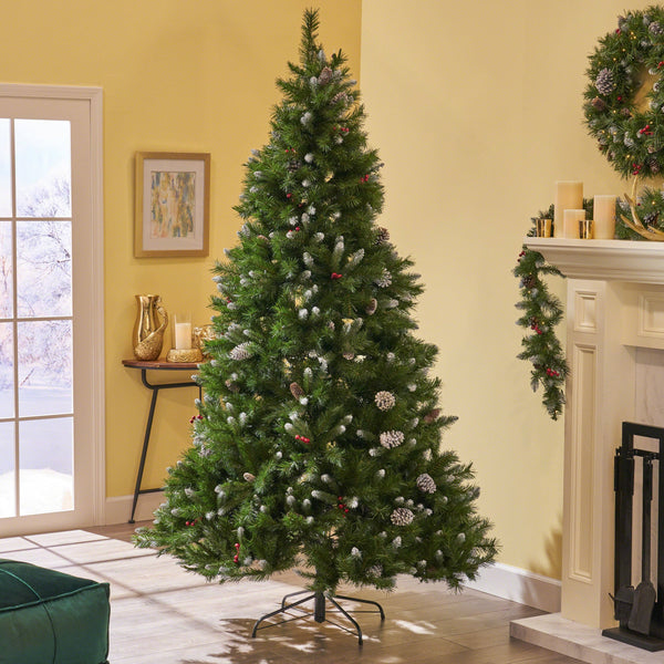7.5-foot Mixed Spruce Hinged Artificial Christmas Tree with Frosted Branches, Red Berries, and Frosted Pinecones - NH263703