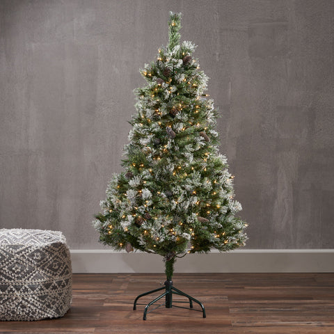 4.5-foot Cashmere Pine and Mixed Needles Hinged Artificial Christmas Tree with Snow and Glitter Branches and Frosted Pinecones - NH933703
