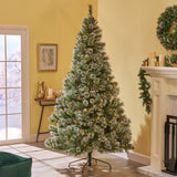 7.5-foot Cashmere Pine and Mixed Needles Hinged Artificial Christmas Tree with Snow and Glitter Branches and Frosted Pinecones - NH333703