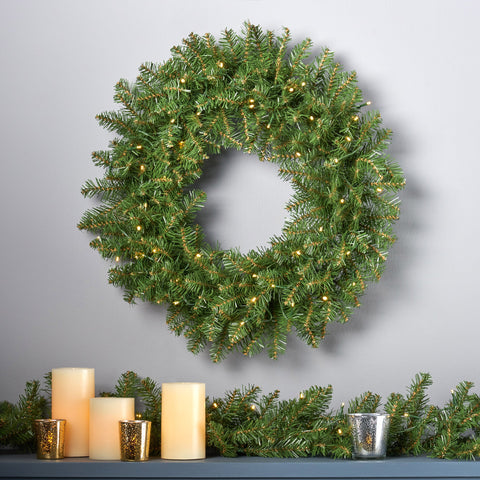 "24"" Fraser Fir Pre-Lit Warm White LED Artificial Christmas Wreath - NH104703"