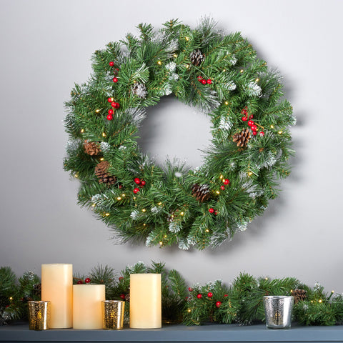 "24"" Mixed Spruce Warm White LED Artificial Christmas Wreath with Glitter Branches, Red Berries, Pinecones - NH593703"