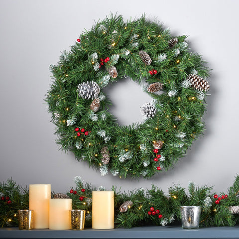 "24"" Mixed Spruce Pre-Lit Warm White LED Artificial Christmas Wreath with Frosted Branches, Red Berries and Pinecones - NH693703"