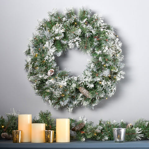 "24"" Cashmere Pine and Mixed Needles Warm White LED Artificial Christmas Wreath with Flocked Snow, Glitter Branches, and Pinecones - NH793703"