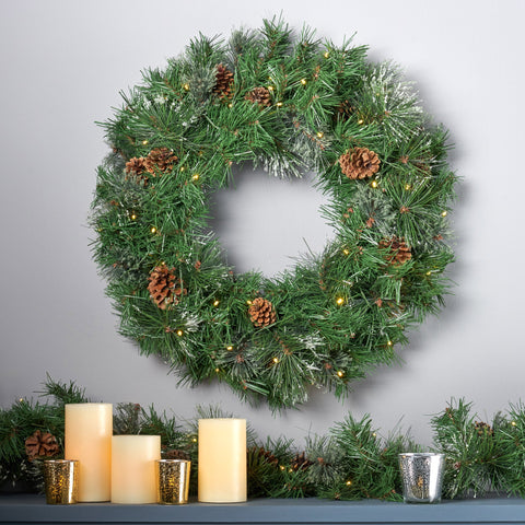 "24"" Cashmere Pine and Mixed Needles Warm White LED Artificial Christmas Wreath with Snowy Branches and Pinecones - NH893703"