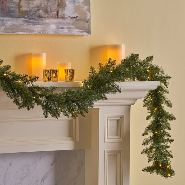 9-foot Fraser Fir Pre-Lit Warm White LED Artificial Christmas Garland - NH993703