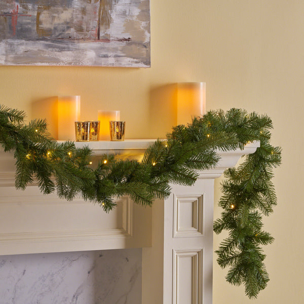 9-foot Mixed Spruce Pre-Lit Warm White LED Artificial Christmas Garland - NH093703