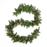 9-foot Mixed Spruce Pre-Lit Warm White LED Artificial Christmas Garland with Glitter Branches, Red Berries and Pinecones - NH193703