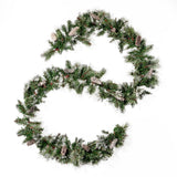 9-foot Cashmere Pine and Mixed Needle Pre-Lit Warm White LED Artificial Christmas Garland with Snow and Glitter Branches and Frosted Pinecones - NH393703