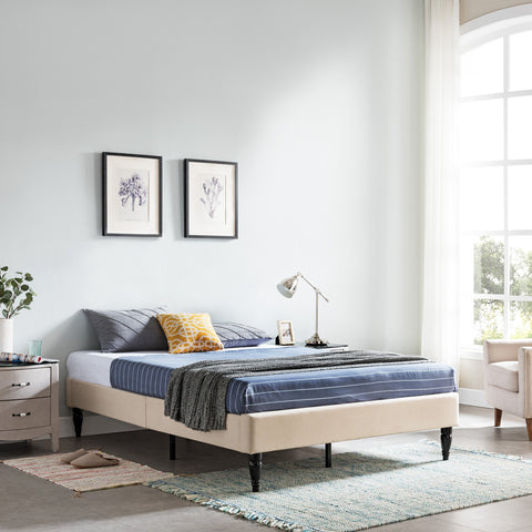 Upholstered Queen Bed Frame with Turned Legs - NH882603