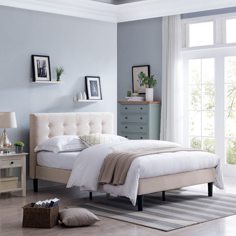Fully-Upholstered Queen-Size Platform Bed Frame, Modern, Contemporary, Low-Profile - NH355703