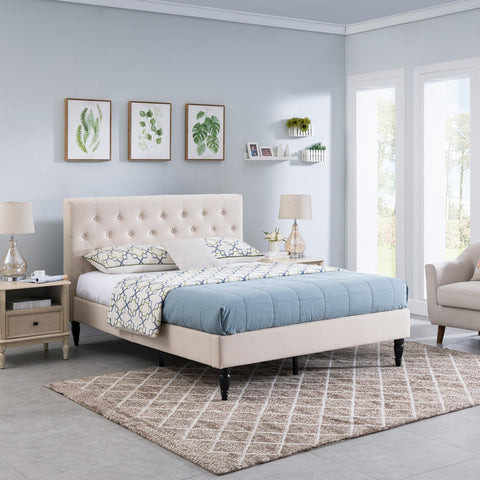 Fully-Upholstered Queen-Size Platform Bed Frame, Low-Profile, Contemporary - NH975703