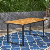 Outdoor 70-inch Acacia Wood and Iron Dining Table, Black and Teak Finish - NH682603