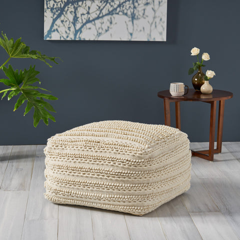 Large Square Casual Pouf, Modern, Contemporary, Ecru Wool and Cotton - NH636703