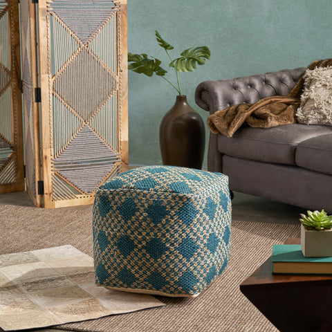 Boho Diamond Pattern Teal and Beige Yarn Cube Pouf - NH716703