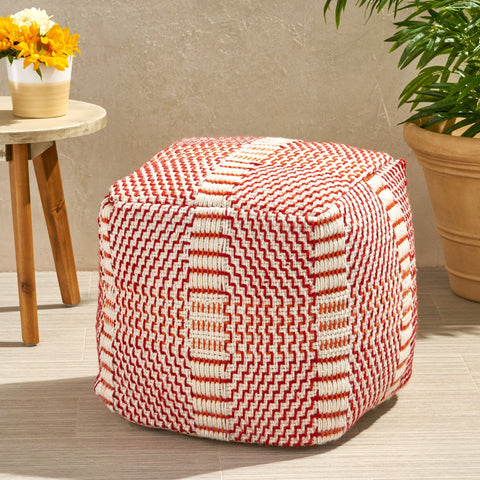 "Bay Outdoor Boho Water Resistant 16"" Square Ottoman Pouf - NH320803"