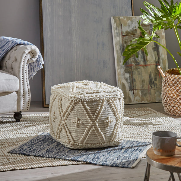 Boho Cube Wool and Cotton Pouf - NH326703