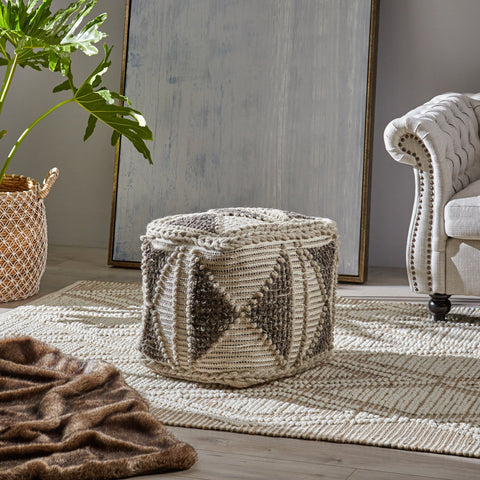 Cube Pouf, Boho, Gray and Ivory Wool and Cotton - NH426703
