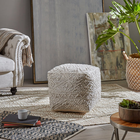 Boho Diamond Pattern Wool and Viscose Cube Pouf - NH526703