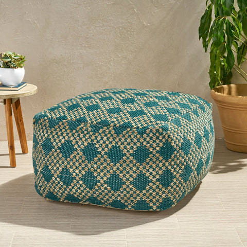 Outdoor Large Square Casual Pouf, Boho, Beige and Teal Yarn - NH826703