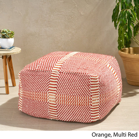 "Outdoor Boho Water Resistant 26"" Rectangular Ottoman Pouf - NH520803"