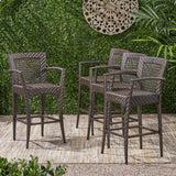 "Outdoor 46"" Wicker Barstool (Set of 4), Multi Brown Finish - NH042903"