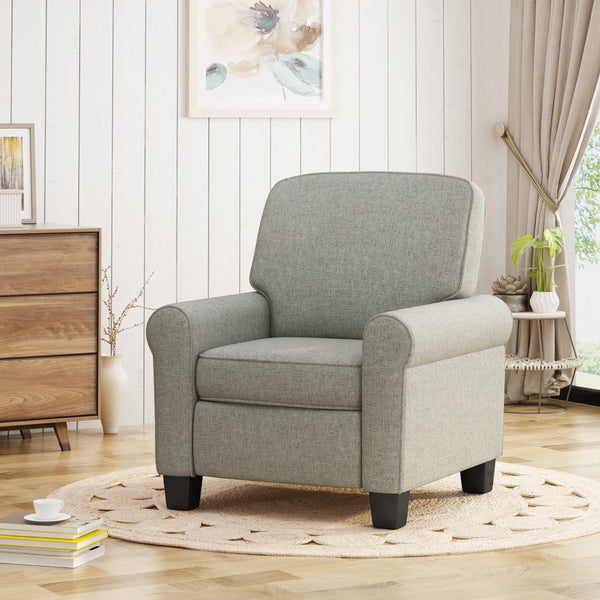 Contemporary Scrolled Arm Upholstered Fabric Club Chair w/ Tonal Piping - NH225703