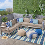 Outdoor 7-Seater Aluminum Sectional Sofa Set, Silver and Khaki - NH005603