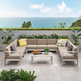 Outdoor 11 Seater Aluminum U-Shaped Sofa Sectional and Table Set - NH468903