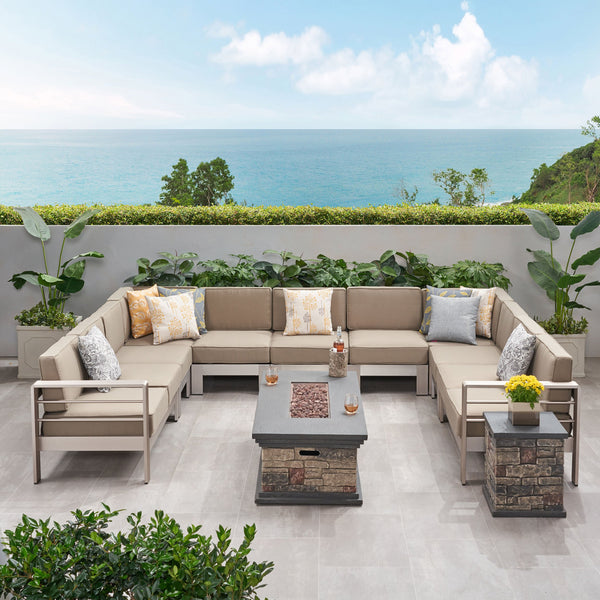 Outdoor 11 Seater Aluminum U-Shaped Sofa Sectional and Fire Pit Set - NH768903
