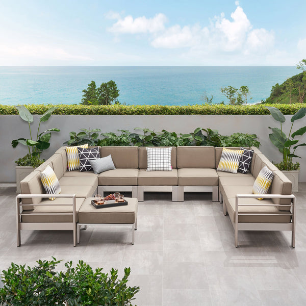 Outdoor 11 Seater Aluminum U-Shaped Sofa Sectional and Ottoman Set - NH568903