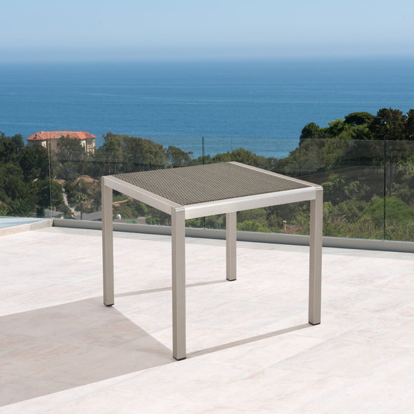 Outdoor Dining Table - Anodized Aluminum - Wicker Table Top - Square - Silver and Gray - 35-inch - NH610703