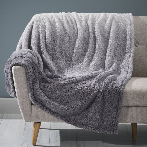 Modern Sherpa Throw Blanket, Gray and White - NH204903