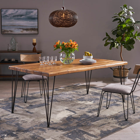 6-Seater Rectangular Rustic/Farmhouse Wood Slab Dining Table - NH094703
